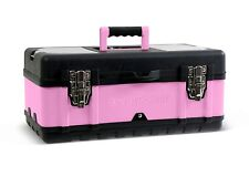 "Pink Power 18"" Aluminum Tool Box w/ Extra Storage Compartments for Tools Crafts"