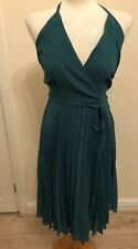 Ladies Asos green strappy finely pleated Dress Size 8 UK BNWT
