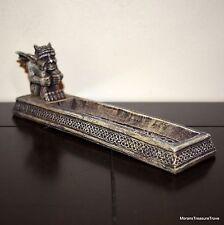 "Tan Gray Medieval Seated Winged Gargoyle 8.5"" Incense Burner"