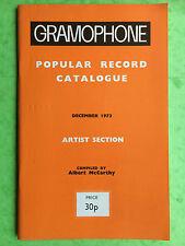 GRAMOPHONE POPULAR RECORD CATALOGUE - December 1973,  Vinyl LP Guide Book  Tape
