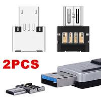 2x Micro USB Typ B mini OTG Adapter Stecker auf USB Buchse Typ A 2.0 Host Stick