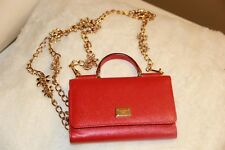 DOLCE & GABBANA Dauphine Mini Von Bag RED with Crystal Chain