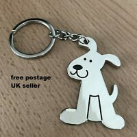 Dog key ring Silver Colour puppy Polished Metal Handbag Purse Charm gift UK