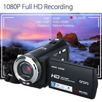 "ORDRO HDV-V12 3.0"" 1080P FHD Digital Camera Camcorder 16x Zoom DVR + 2* Battery"