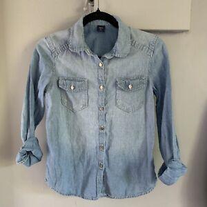 Girl's Gap Kids Long Sleeve Denim Top, size XL Cotton / Linen Blend