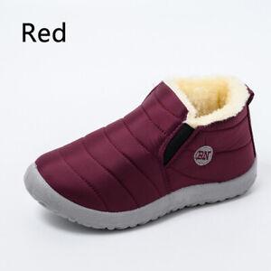 Women Winter Warm Ankle Snow Boots Fur Side Waterproof Slip On Flat Shoes