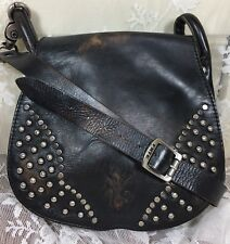 Frye Studded Black Brown Leather Flap Small Crossbody Bag Messenger Purse
