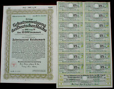 Nazi German Government 10000 Reichsmark Trasury Loan 1940 uncancelled + coupons