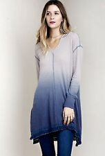 NWT Ombre Thermal blue gray Stretch Hooded V Tassel Hem Swingy Tunic Dress S