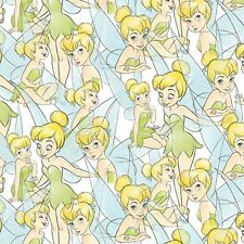 Fabric Tinkerbell Disney on Blue Cotton 1/4 yard SPR67636