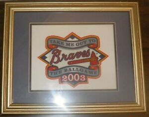 2003 Atlanta Braves Framed Cloth Take Me Out to the Ballgame Wall Art Décor