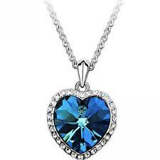 SILVER & CRYSTAL HEART NECKLACE IN BLUE **UK SELLER** WEDDING BRIDE BRIDESMAID