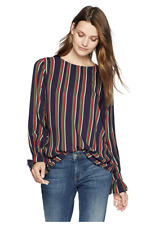 VELVET By Graham & Spencer Oakley School Stripe Challis Blouse Top Navy $158 B7