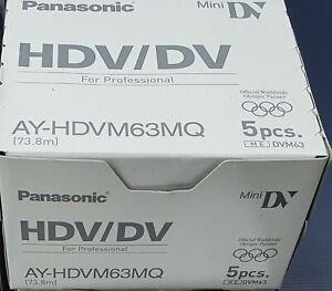 BRAND NEW AND SEALED PACK OF 5 PANASONIC AY-HDVM63MQ MINI DV CASSETTES
