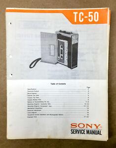Sony TC-50 Cassette Tape Player Service Manual *Original* #2