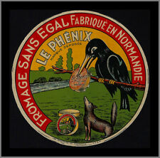 French Cheese Label - Le Phenix - Normandie - Crow - Bird - Fromage