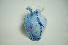 Murano Vase Millefiori Murrinen mit Etikett Blau Weiß Italien 16 cm hoch