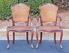Louis XV Style Caned antique Armchairs (2) Made in Italy - carved beechwood