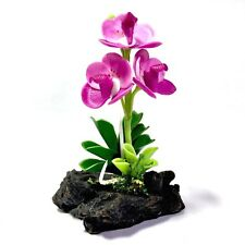 MINIATURE HANDMADE CLAY PINK ORCHID FLOWERS ON STUMP PLANTS DOLLHOUSE HOME DECOR