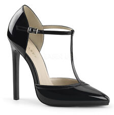 PLEASER 5-5 1/4 SEXY 27 HIGH HEEL STILETTO T BAR D'ORSAY COURT SHOES SIZES 3-11