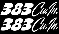 "x2 ""383 Cu. In."" Set of VINTAGE Hand Lettered look decals. Fits Muscle Cars"