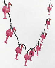 "Pink Flamingo Party Patio Light Set 8Ft With 10 4"" Pink Flamingo Lights New"