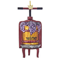 Kurt Adler Glass Grape Vineyard Wine Press Barrel Christmas Tree Decor Ornament