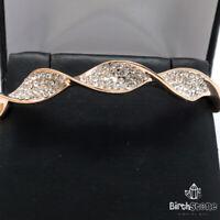 Hand Carved Round Diamond Bangle Bracelet Women Jewelry 14K Rose Gold Plated