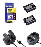 2 EN EL15 Batteries+Charger for Nikon DSLR D7200-D7100-D7000-D810-D800-D750-D610