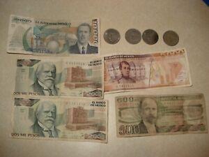 SET of 5 MEXICO BANKNOTES SERIES 500, 2000, 2000, 5000 & 10000 PESOS LOT + 5