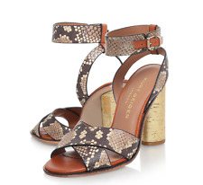 Kurt Geiger Talbot 100% Leather Sandal 4 37 Block Heel Gold Snake Print New Box