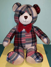 Pendleton by Gund PLAID Teddy Bear Tartan Red Blue Green White Suede Accent EUC