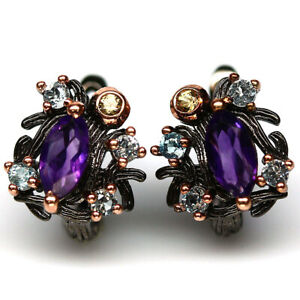 NATURAL PURPLE AMETHYST, TOPAZ & SAPPHIRE EARRINGS 925 STERLING SILVER