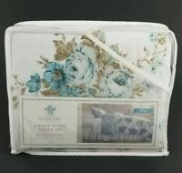 Simply Shabby Chic Aqua Rose Floral Twin Duvet w/ Sham New White Blue Flowers