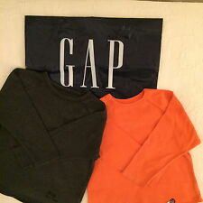 GAP Kids boys, 2 long sleeve solid tee, size XS (4-5), orange, gray, cotton
