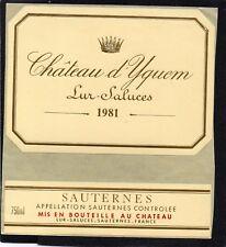 SAUTERNES 1EGCC ETIQUETTE+CONTRE CHATEAU YQUEM LUR SALUCES 1981 75 CL §12/03/17§