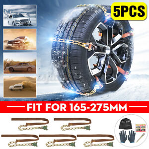 5PCS Winter Snow Tire Chain Steel For Car Truck SUV Anti-Skid Emergency Driving