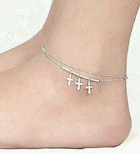 NEW WOMEN'S JUNIOR'S SILVER PLATED DOUBLE LAYER CROSS DESIGN ANKLE BRACELET