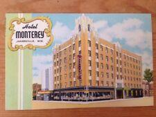 Vtg Linen Beals Art Tone GloVar Postcard Hotel Monterey Janesville Wisconsin