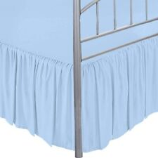 Dust Ruffle Split Corner Bed Skirt Ruffle Light Blue Microfiber Easy Fits Drop