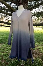 NWT Ombre Thermal blue gray Stretch Hooded V Tassel Hem Swingy Tunic Dress M