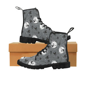 Grey Nightmare Before Christmas Jack Skellington Lace Up Boots For Women