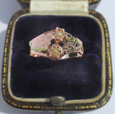 Rare bague Toi et Moi ancienne XIXe perles or rose massif 18 carats French 750