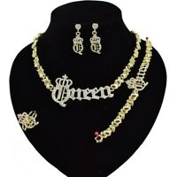 #69 HUGS & KISSES Xo Set Queen Necklace bracelet Earrings Ring Gold Filled