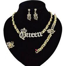 #69 HUGS & KISSES Xo Set Queen Necklace bracelet Earrings Ring Gold Filled