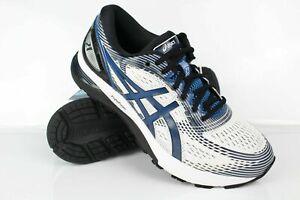 Asics Men's Gel-Nimbus 21 Running Shoes 10 Wide White Deep Sapphire 1011A169