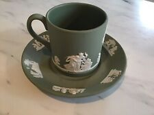 Vintage Wedgwood Green Jasperware Cup And Saucer Mint