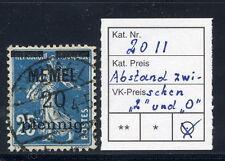 Memel 1920 sovrastampa 20 PF... su 25 C. con spazio più ampio tra 2 e 0, usato.