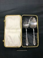 Antique silver plated salad serving set in original box...Levesley Brothers