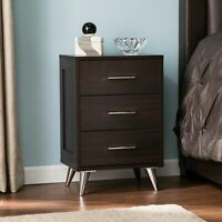 Nightstand Bed Side Accent Lamp Table Storage Cabinet 3-Drawer Bedroom Furniture